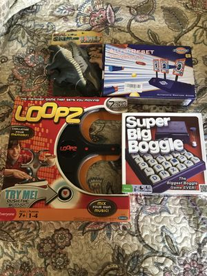 Loops, Boggle, real skin and bones dinosaur, target game for Sale for sale  Queens, NY