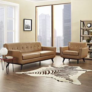 Just $50 down - New Engage mid century tan leather sofa and chair set for Sale in Anaheim, CA