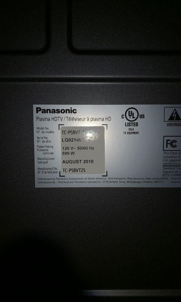 """PANASONIC 60"""" 3D PLASMA TC-P58VT25"""