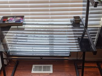 Glass Desk And Matching Shelving Unit for Sale in Parkland,  WA