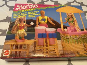 Barbie doll Hawaiian Fun beach party tiki bar Playset (1990) RARE New open box never used everything new and accessories in sealed packages very n for Sale in San Bernardino, CA