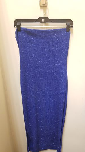 Blue glitter strapless dress side slits wet seal L for Sale in Wheaton, IL