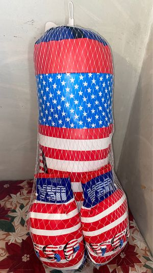 USA boxing bag with gloves medium for Sale in Cicero, IL
