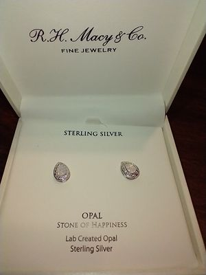 OPAL STONE OF HAPPINES STERLING SILVER EARRINGS BY R. H. MACY & CO. for Sale in South Pasadena, CA