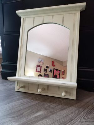 White Rustic Wood Wall Mirror with Hooks for Sale in San Antonio, TX