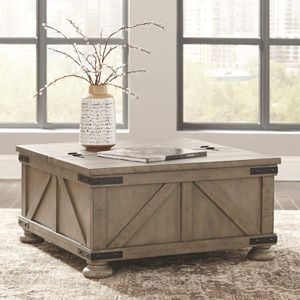 NEW Signature Design by Ashley - Aldwin Farmhouse Storage Coffee Table, Brown Pine Wood for Sale in Nashville, TN