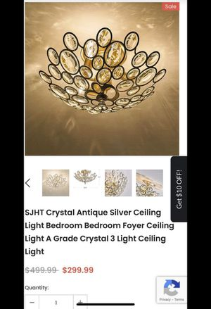 Crystal Antique Silver Ceiling Light Bedroom Bedroom Foyer Ceiling Light A Grade Crystal 3 Light Ceiling Light for Sale in Huntington Beach, CA