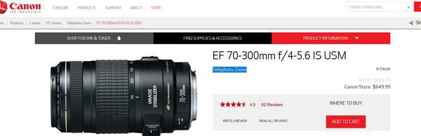 CANON EF 70-300mm f/4-5.6 IS Telephoto lens
