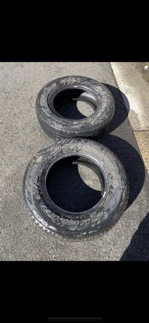 2 bridge stone tires size 265/70/R17 still in good condition both for $80 cash and pick up . for Sale in Fairfax, VA