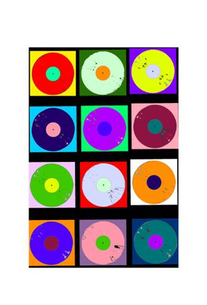 4FT X 3FT Vinyl Color Records Street POP Art Canvas Painting Graffiti Urban Abstract Acrylic Collage Wood Frame Panel Geometric Shapes Circles squares for Sale in North Palm Beach, FL