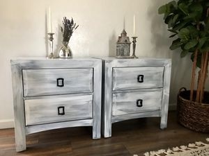 Refinished distressed look gray and white nightstands / end tables for Sale in Peoria, AZ