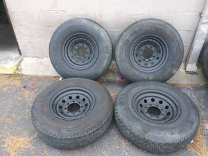 outlaw style 16 inch steel rims. 8 lugs, ford, dodge, chevy for Sale in Montebello, CA