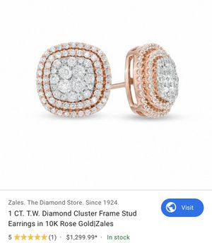Zales 1 ct tw diamond cluster frame stud earrings 10k rose gold for Sale in The Bronx, NY