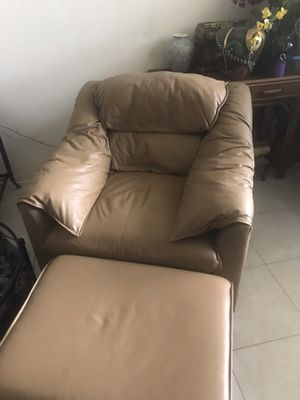 Emerson real leather armchair and ottoman from El dorado for Sale in Pompano Beach, FL