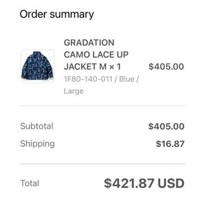 A Bathing Ape Blue Bape Gradation Camo Lace Up Jacket Size Large New W/ Tags for Sale in Murfreesboro, TN