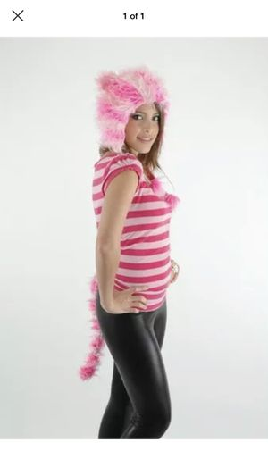 CUTE Pink Striped KITTY Furry Hoodie Ears Hat & Tail Set cheshire cat costume for Sale in Portland, OR