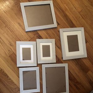 Gallery 7 piece portrait picture frame set white wood for Sale in Alexandria, VA