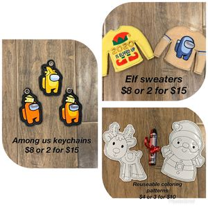 Among Us Keychains, Elf Sweaters And Reusable Coloring Patterns for Sale in Escondido, CA