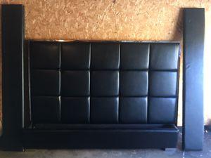 King Size Platform Bed Frame w/ Leather Headboard for Sale in South Burlington, VT