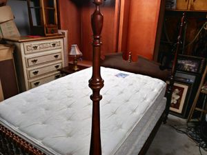 Full size Cherry bed with matching nightstand excellent condition with box springs and Mattress 375 for Sale in Salem, VA