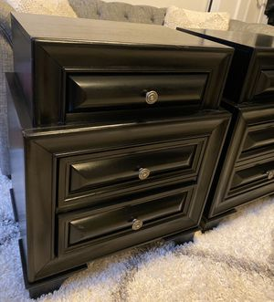 Set of black wood night stands for Sale in Staten Island, NY
