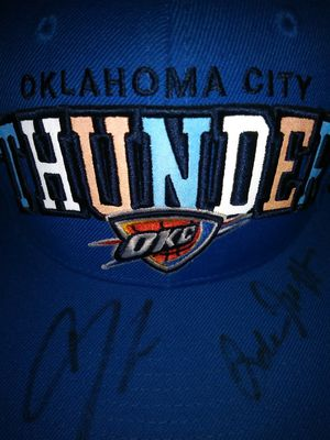 OKC hat signed by coach and play from game okc vs. Hawks and signed by Andre Robinson for Sale in Wichita, KS