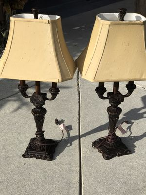 2 dark brown metal lamps lights height 31 for Sale in Davie, FL