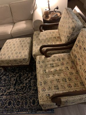 2 vintage French chairs and ottoman for Sale in Centreville, VA