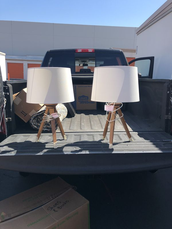 Floor lamp and two table lamp set