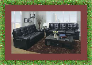 U6900 black bonded leather sofa and love seat free delivery for Sale in Crofton, MD