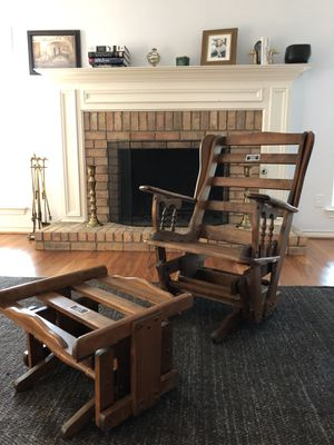 Wooden glider with ottoman for Sale in Richardson, TX