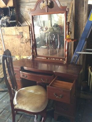 Antique vanity with swivel mirror and chair for Sale in Temple, GA