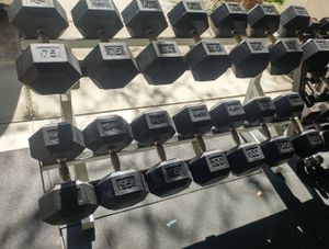 75-120 Hampton commercial rubber dumbbells with Promaxima commercial rack for Sale in Elk Grove, CA