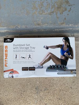 Dumbbell Set with Storage Tray for Sale in Garland, TX