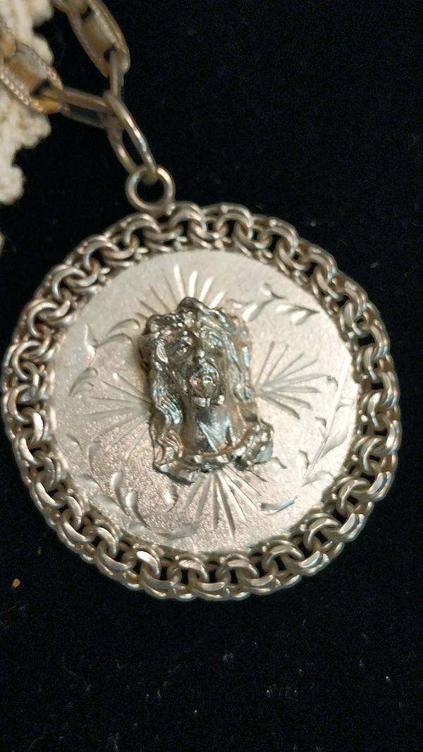 STERLING SILVER JESUS NECKLACE 20 inch