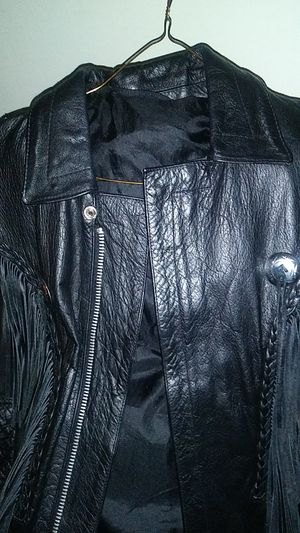Womans xl fringe leather motercycle coat for Sale in Beaverton, MI