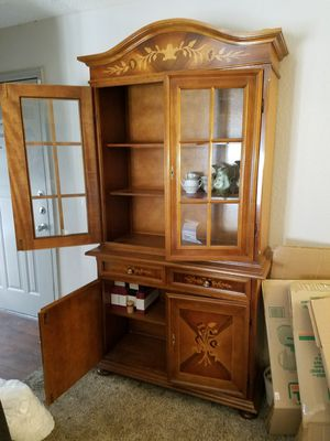 Antique English Display Case / China Hutch - Solid wood - 2 PC's - top is the 2 glass doors. Bottom is the cabinets $425 for Sale in Irving, TX