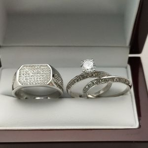 New with tag Solid 925 Sterling Silver HIS & HER WEDDING Ring trio Set size 8/9/10/ or 11 and 6/8 or 9 $250 set OR BEST OFFER ** FREE DELIVERY!!📦📫 for Sale in Phoenix, AZ