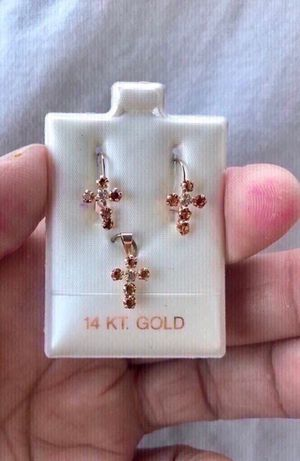 14k yellow gold and amber cross earring and pendant set. Solid gold. Beautiful gift for the woman in your life. She will love it. Comes with a se for Sale in Fullerton, CA