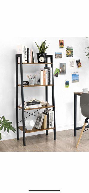 Industrial Ladder Shelf, 4-Tier Bookshelf, Storage Rack Shelves, Bathroom, Living Room, Wood Look Accent Furniture, Metal Frame, Rustic Brown for Sale in Eastvale, CA