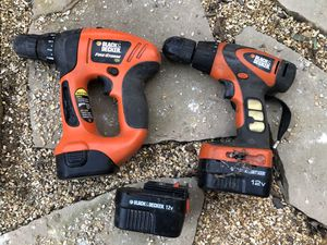 Black and decker drills and extra battery (no charger) for Sale in Tracy, CA