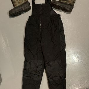 Boys Snow Boots SZ 2 And 10-12 SZ Snow Overalls Bibs! Great Condition ! for Sale in Chandler, AZ