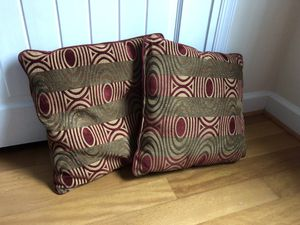 Vintage Retro Sofa Pillows, couch throw pillows, olive/burgundy/ochre pattern for Sale in Arnold, MD