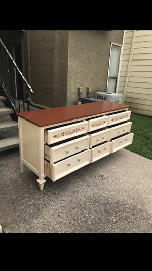 """Long Mid Century dresser top painted in Royal Liquor (reddish brown) and Cream with 9 dovetailed drawers. 68 in long, 19 inches wide, 32"""" tall. for Sale in Mesquite, TX"""