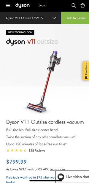 Brand New/Sealed: Dyson V11 Outsize cordless vacuum Full-size bin. Full-size cleaner head. Twice the suction of any other cordless vacuum¹ for Sale in Los Angeles, CA