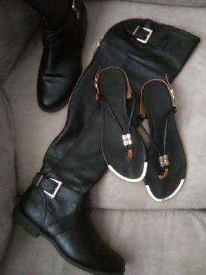 Zip/Buckle Flat Boot & Gold Trimmed Leather Thong Sandals for Sale in GILLEM ENCLAVE, GA