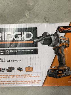 Ridgid 1/2 in. Compact Hammer Drill Kit (2) 2.0 Ah Battery, Charger, and Bag for Sale in Downey,  CA