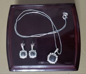 Black and White Diamond Necklace and Earrings for Sale in Redlands, CA