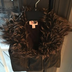 Girls size S black leather look vest for Sale in Centreville, VA