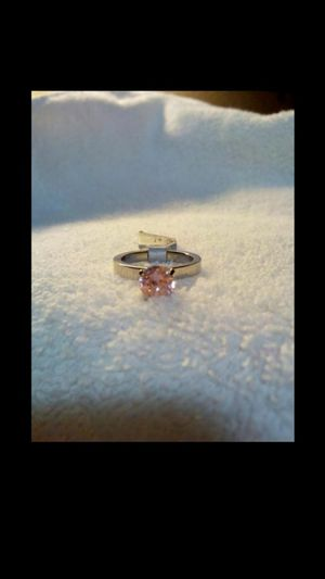Brand new beautiful stainless steel and pink swarovski crystal women's ring size 7 1/2 for Sale in Hemet, CA